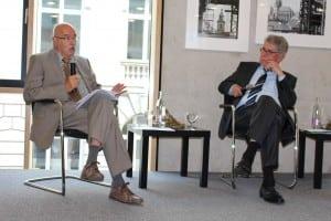 Prof. Dr. Dr. Karl Döring und Heinz Dürr diskutieren über die Potenziale von Plan- und Marktwirtschaft